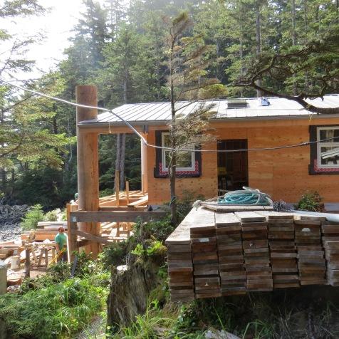 New longhouse cabin facing the ocean